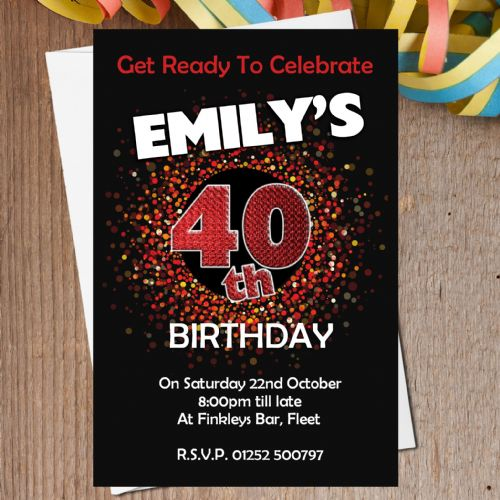 10 Personalised Red Sparkle Birthday Party Invitations N202
